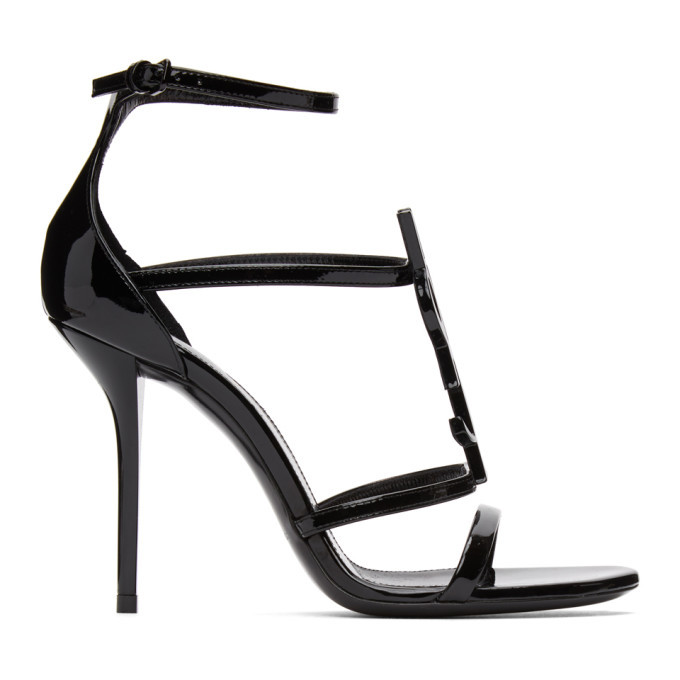 Photo: Saint Laurent Black Cassandra 100 Heeled Sandals
