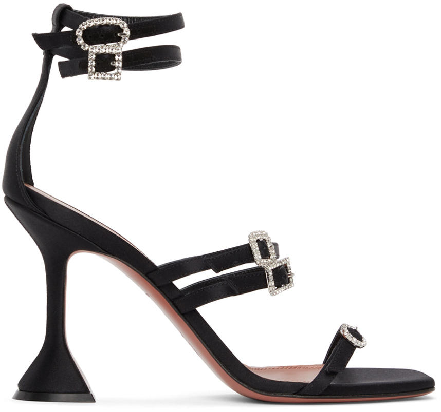 Photo: Amina Muaddi Black Robyn Heeled Sandals