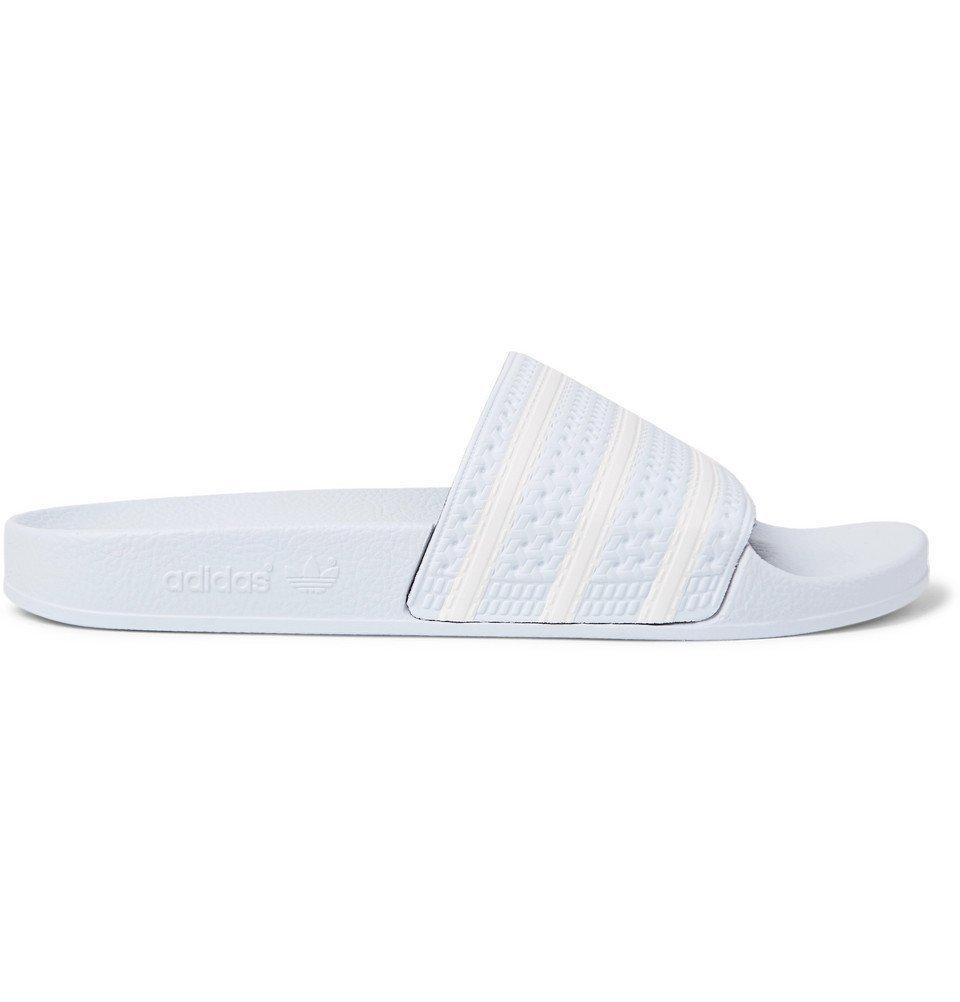Photo: adidas Originals - Adilette Textured-Rubber Slides - Sky blue