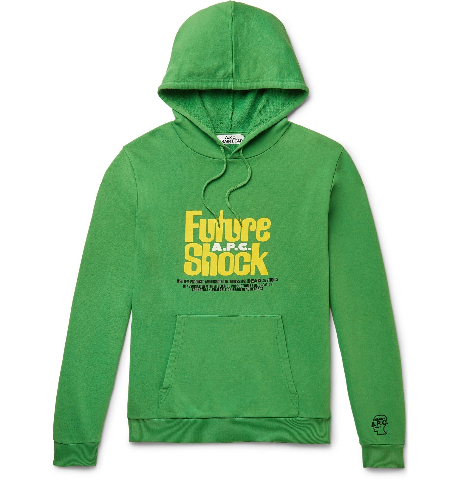 Photo: A.P.C. - Brain Dead Printed Loopback Cotton-Jersey Hoodie - Green