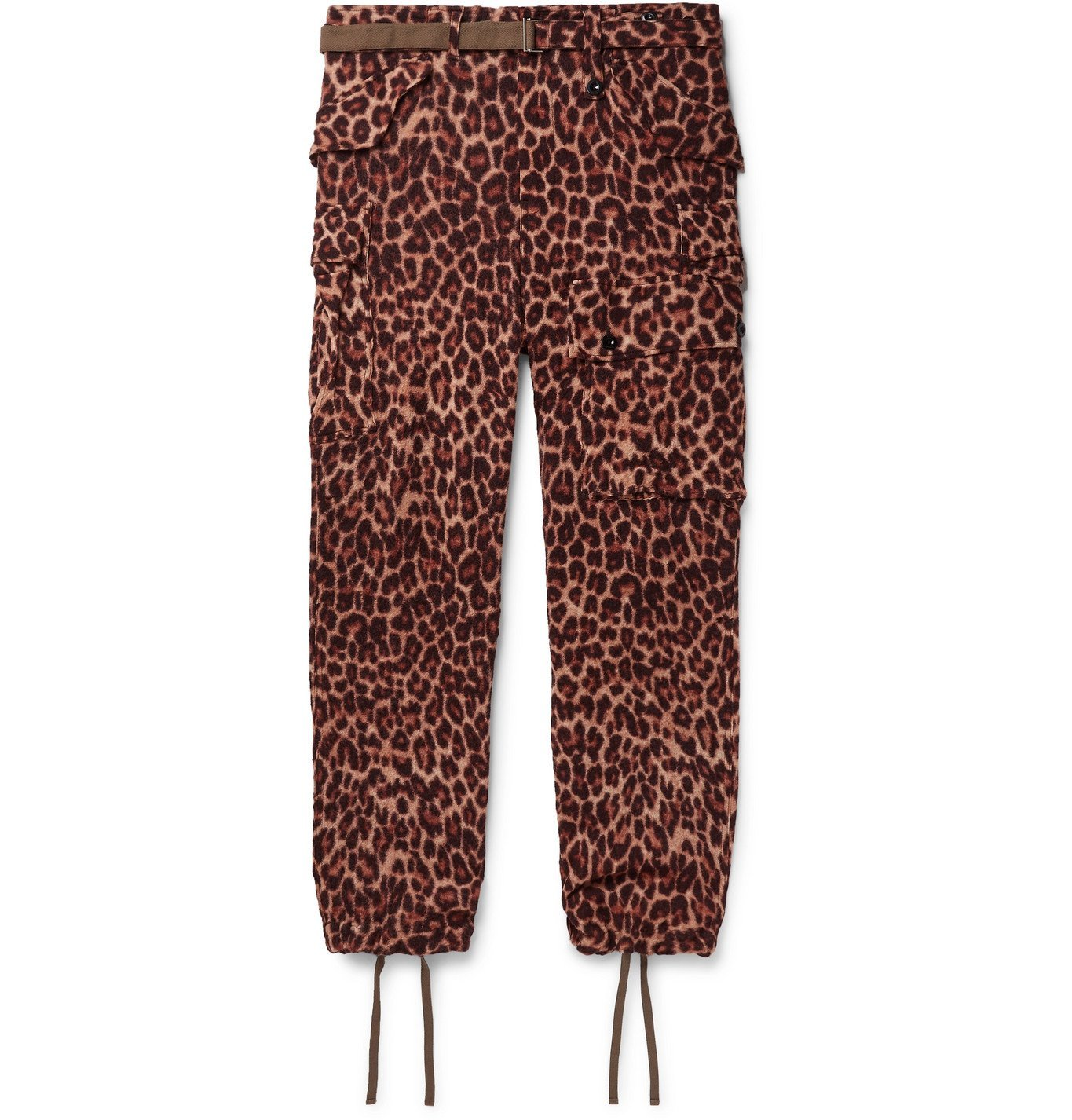 Sacai - Belted Leopard-Print Wool Trousers - Brown
