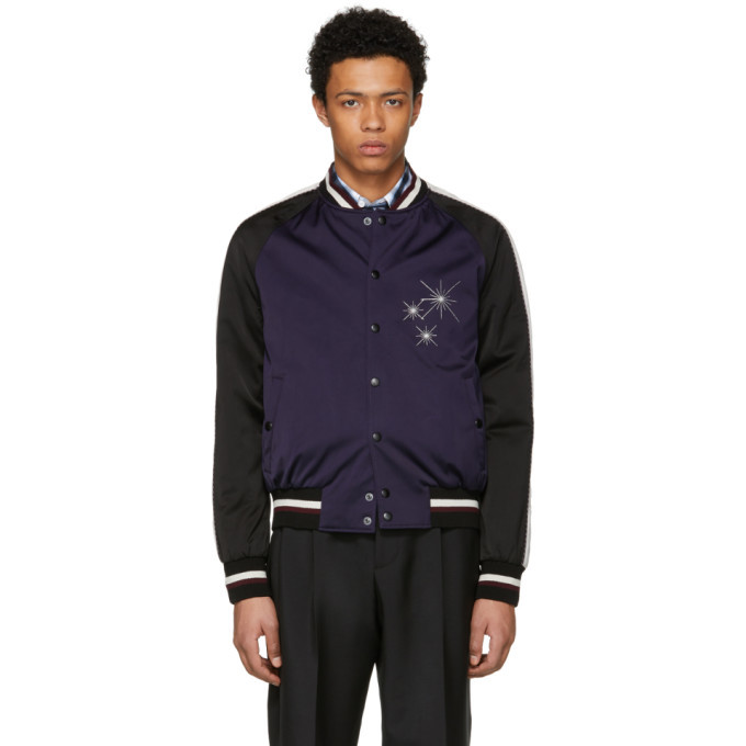 Photo: Lanvin Black and Purple Satin Starlight Baseball Jacket
