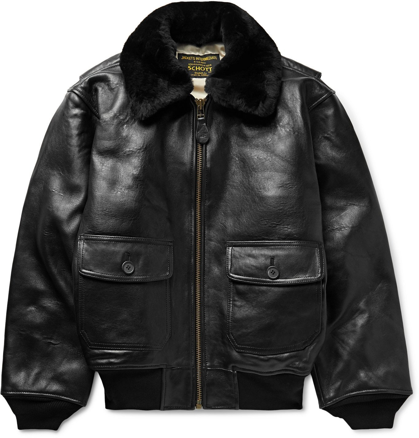 Photo: Schott - G-1 Shearling-Trimmed Leather Bomber Jacket - Black