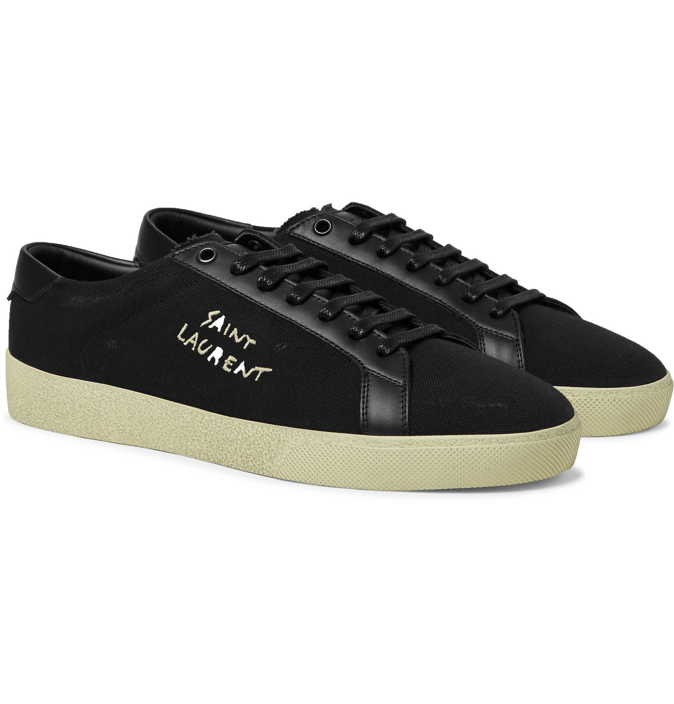 Photo: SAINT LAURENT - Court Classic SL/06 Leather-Trimmed Logo-Embroidered Distressed Canvas Sneakers - Black
