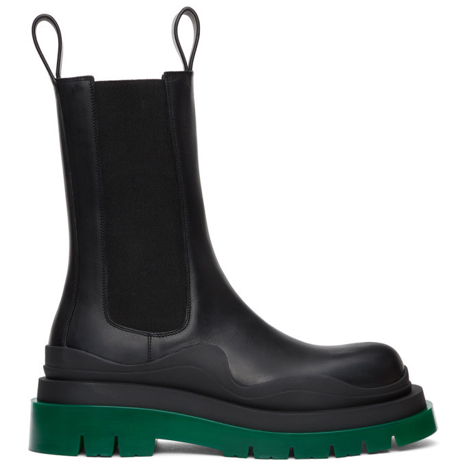 Photo: Bottega Veneta Black Leather Chelsea Boots