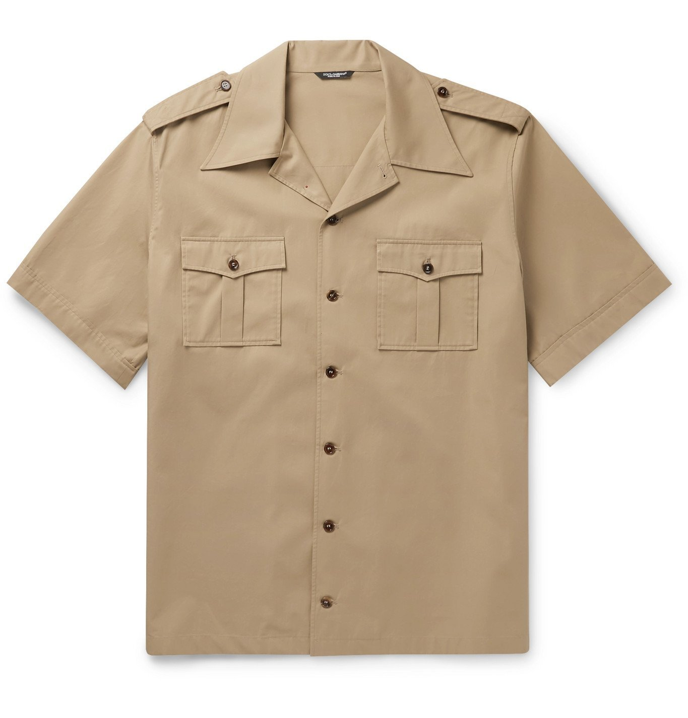 Photo: Dolce & Gabbana - Camp-Collar Printed Cotton-Twill Shirt - Neutrals