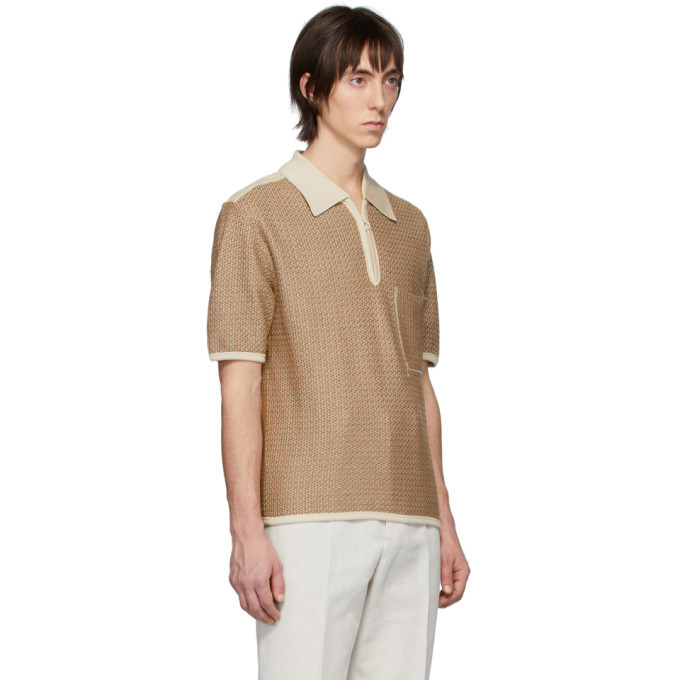 Lemaire Brown and Off-White Knitted Polo