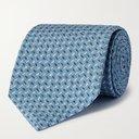 GIORGIO ARMANI - 8cm Printed Silk Tie - Blue