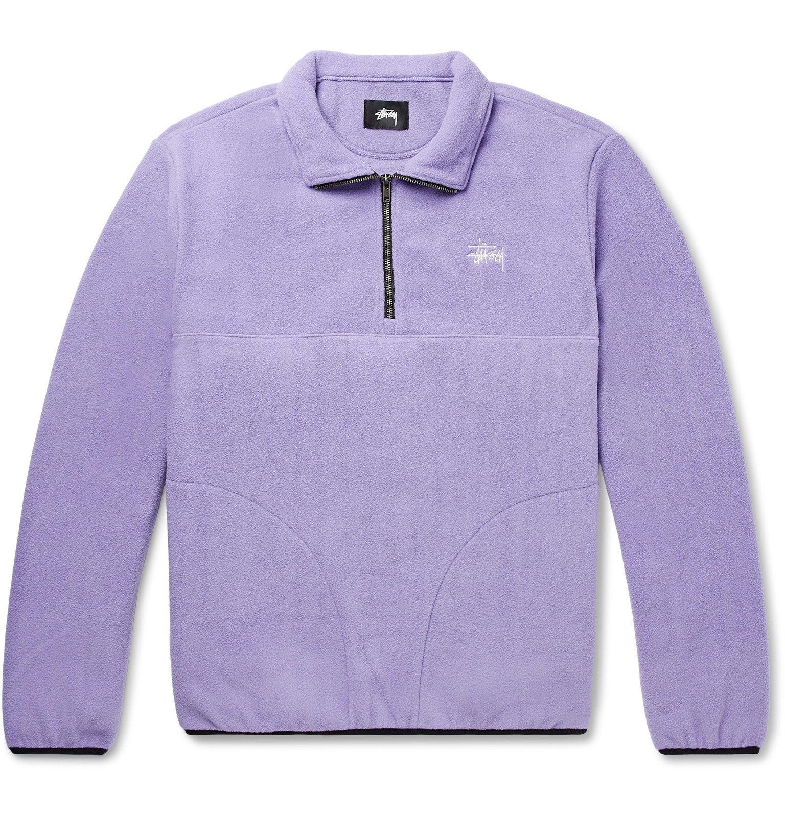 Photo: Stüssy - Logo-Embroidered Floral-Print Fleece Half-Zip Sweatshirt - Purple