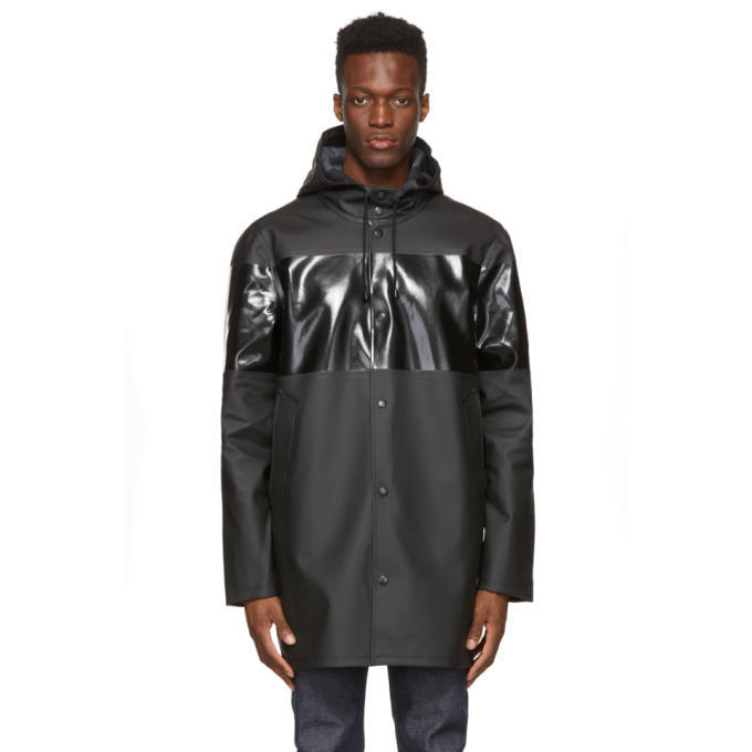 Photo: Stutterheim Black Tonal Stripe Stockholm Raincoat