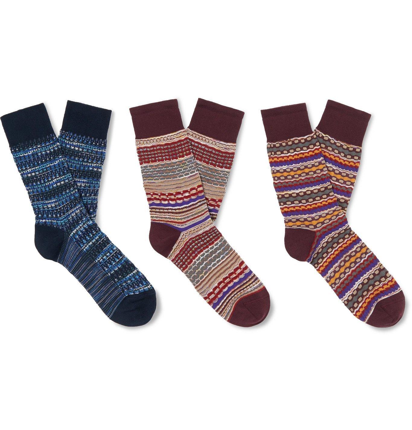 Photo: Missoni - Three-Pack Crochet-Knit and Cotton-Blend Socks - Multi