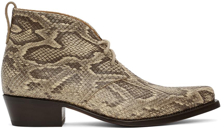 Photo: 4SDESIGNS Beige Python Western Boots