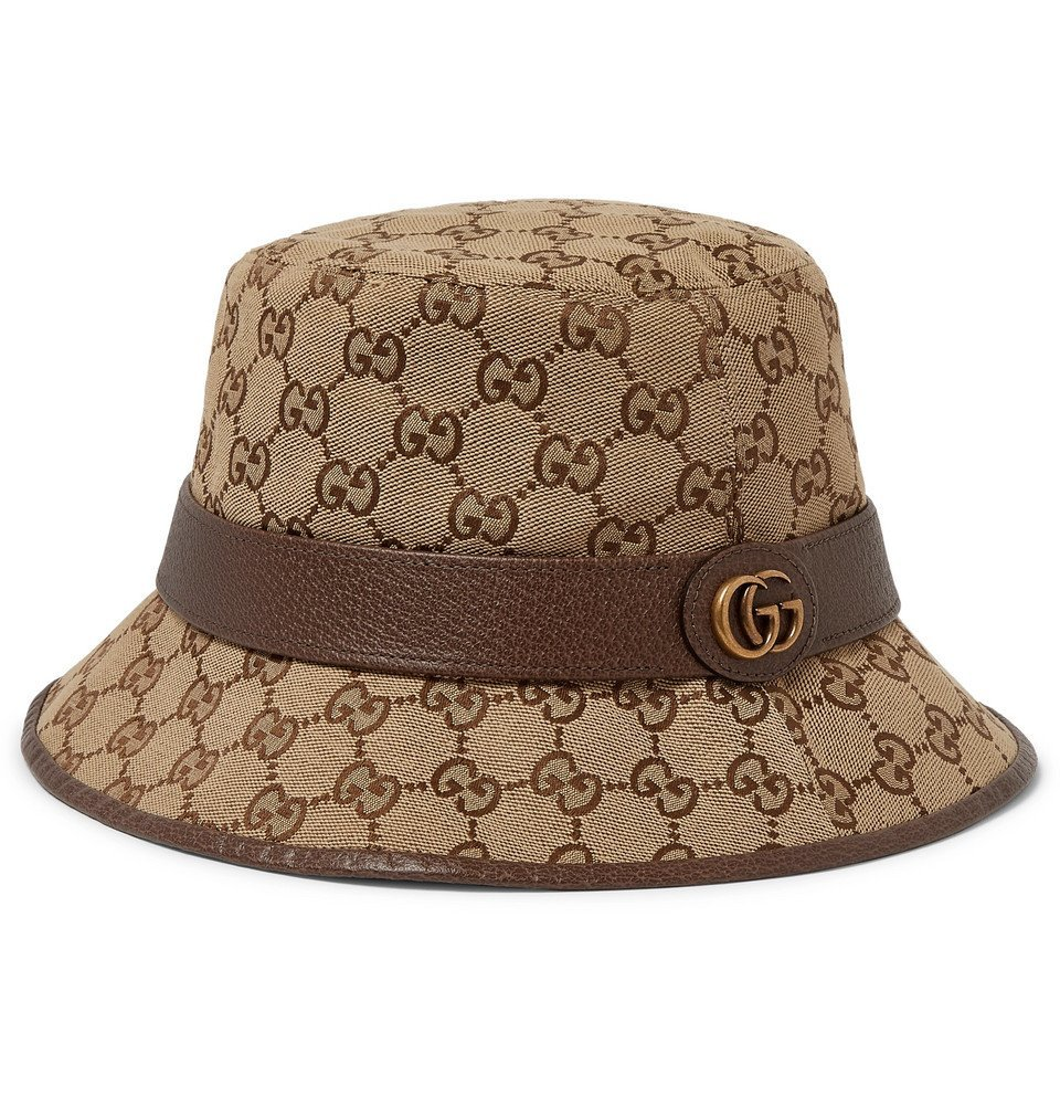 Photo: Gucci - Leather-Trimmed Monogrammed Canvas Bucket Hat - Brown