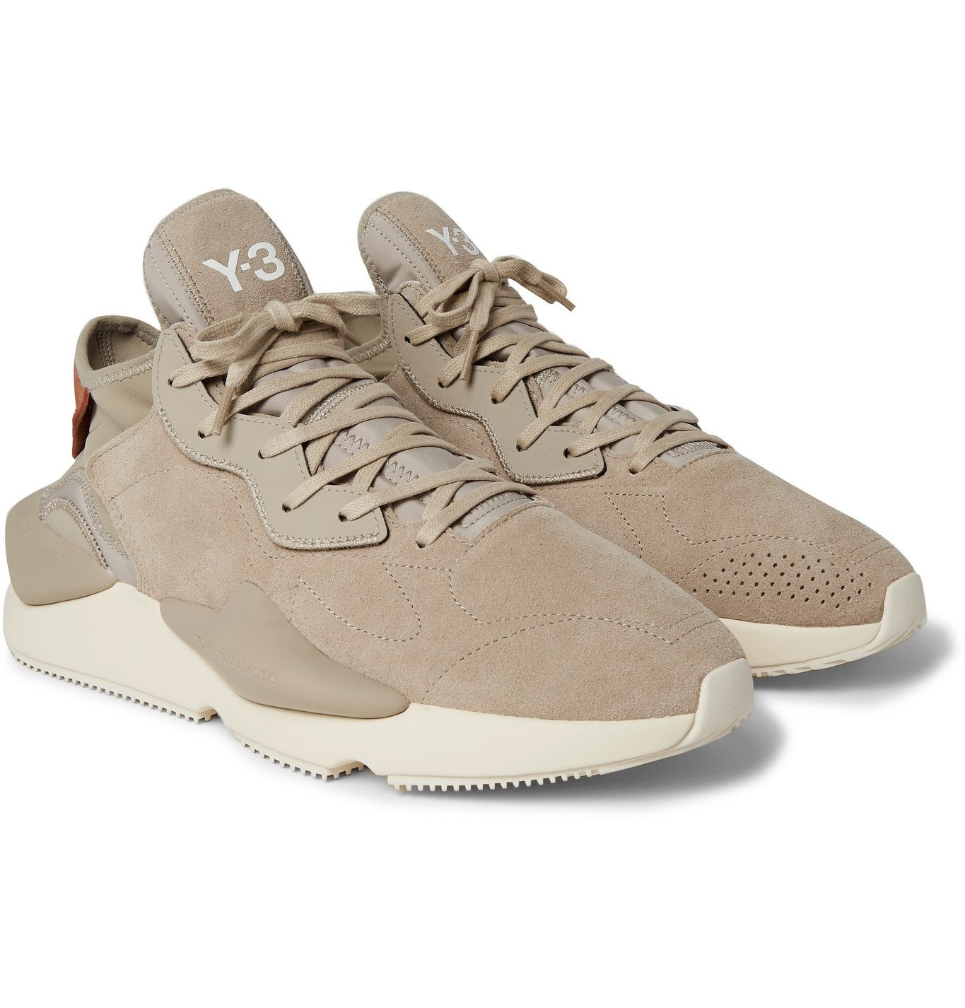 Photo: Y-3 - Kaiwa Leather-Trimmed Suede and Neoprene Sneakers - Brown