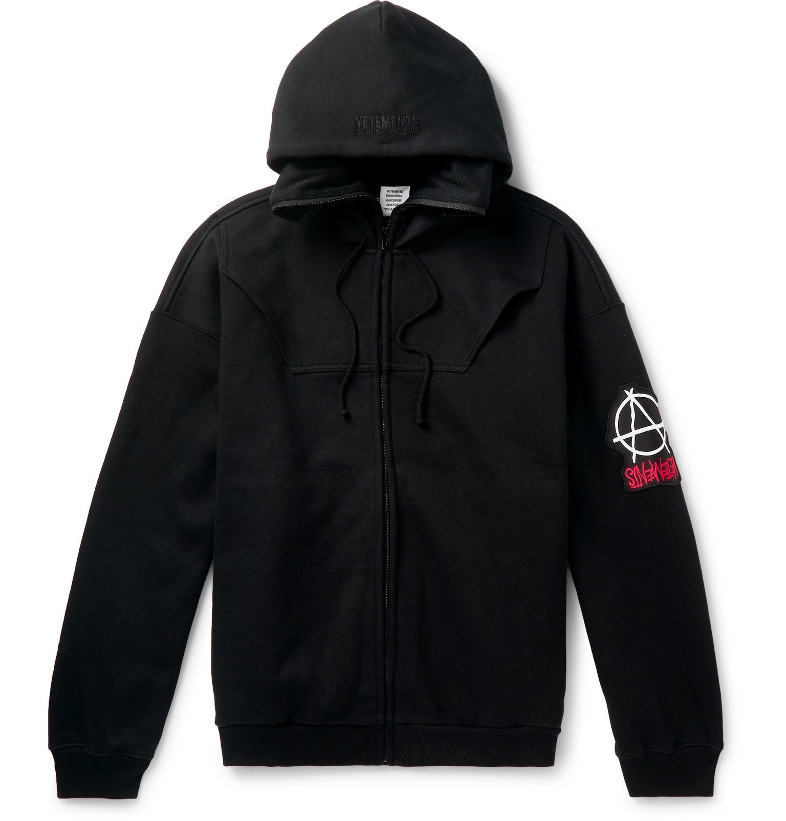 Photo: Vetements - Logo-Appliquéd Fleece-Back Cotton-Jersey Zip-Up Hoodie - Black
