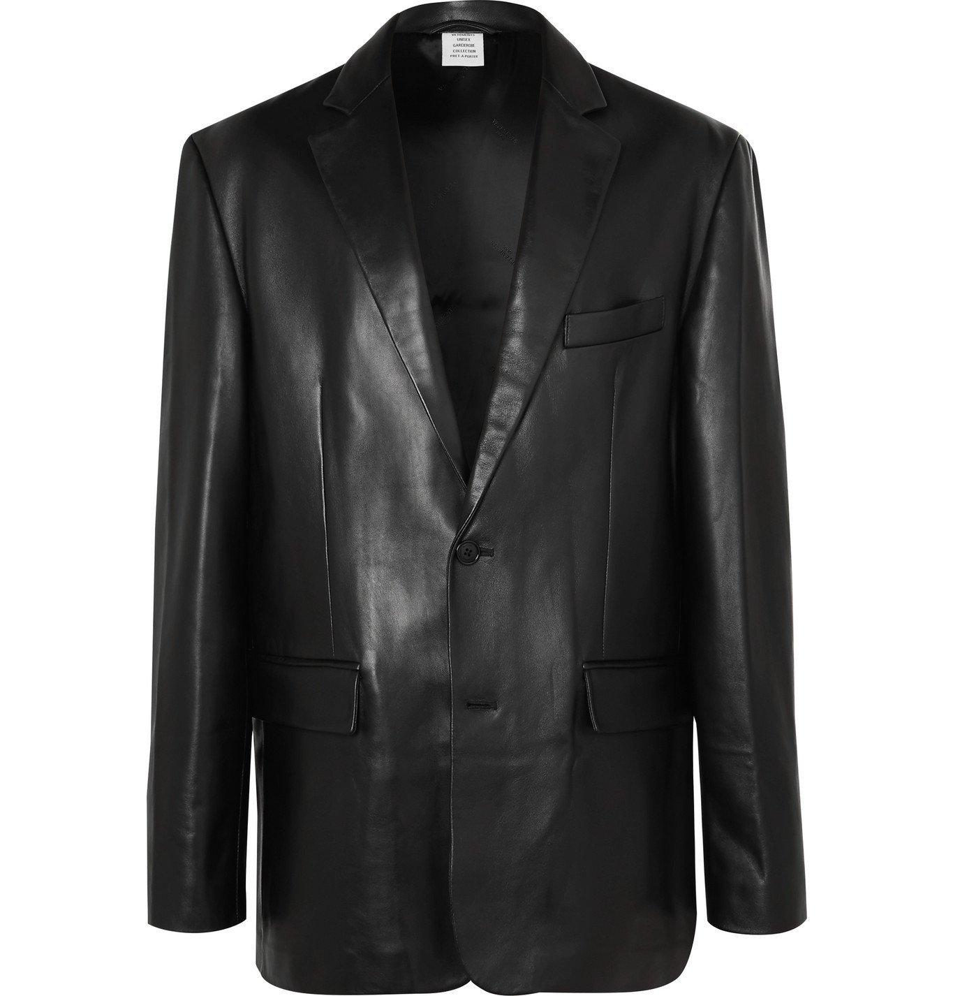 Photo: Vetements - Oversized Leather Blazer - Black