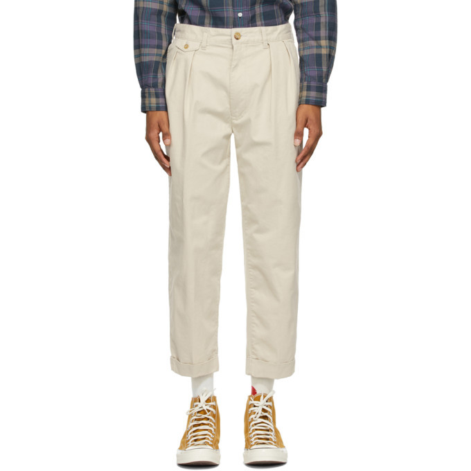 Photo: BEAMS PLUS Off-White Twill Two-Pleats Trousers