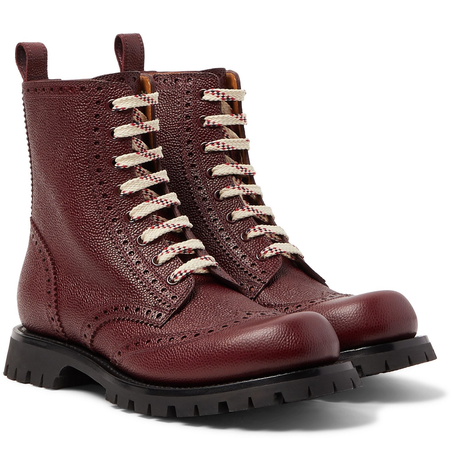 Photo: Gucci - New Arley Pebble-Grain Leather Brogue Boots - Burgundy