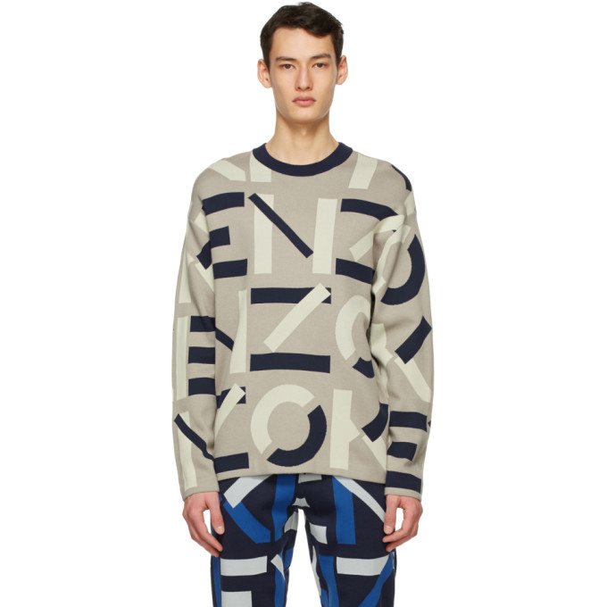 Photo: Kenzo Grey Jacquard Monogram Sport Sweater
