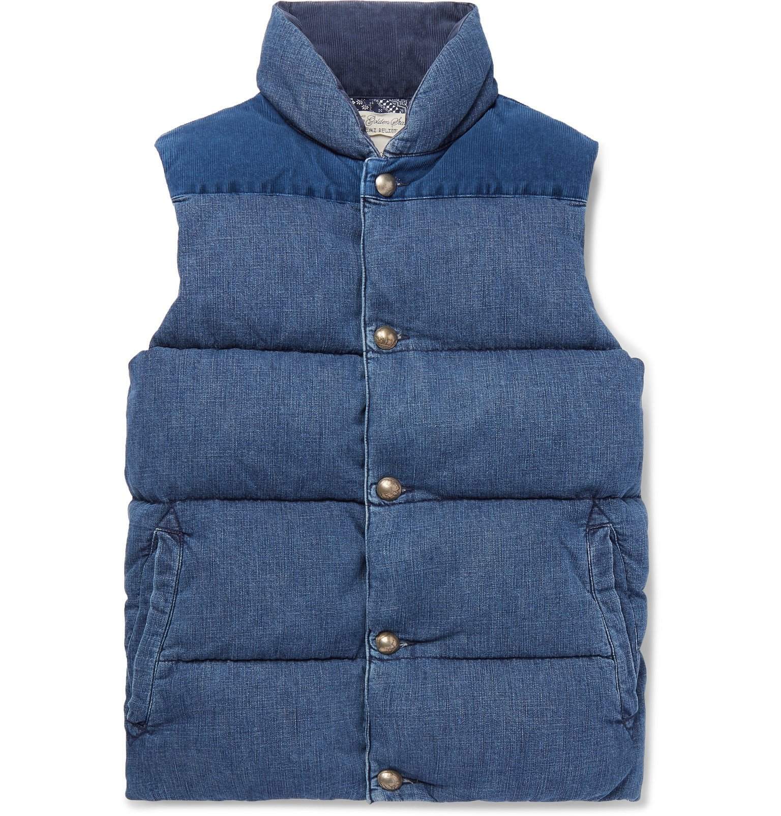 Photo: Remi Relief - Slim-Fit Corduroy-Panelled Quilted Denim Down Gilet - Blue