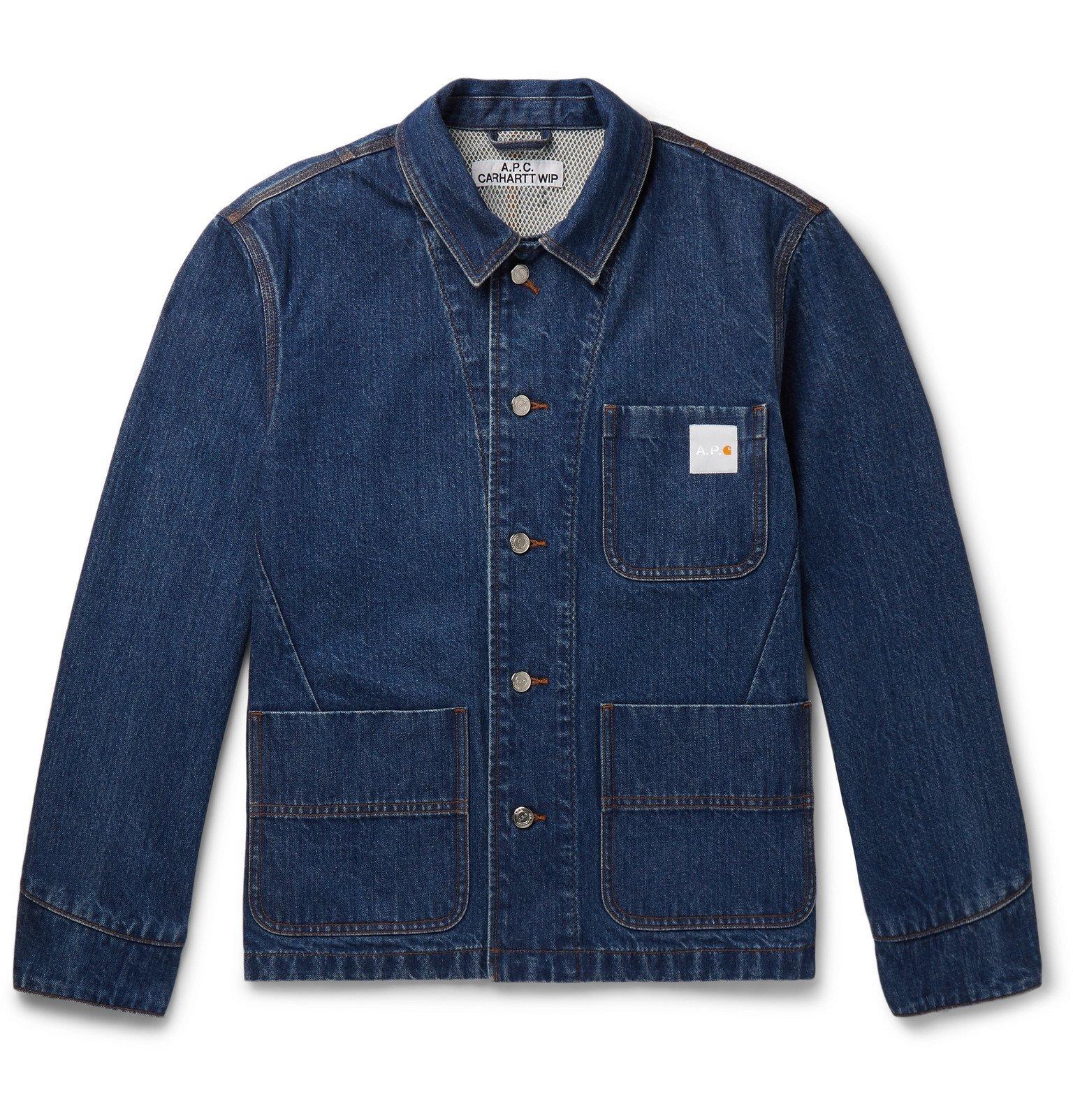Photo: A.P.C. - Carhartt WIP Logo-Appliquéd Denim Chore Jacket - Blue