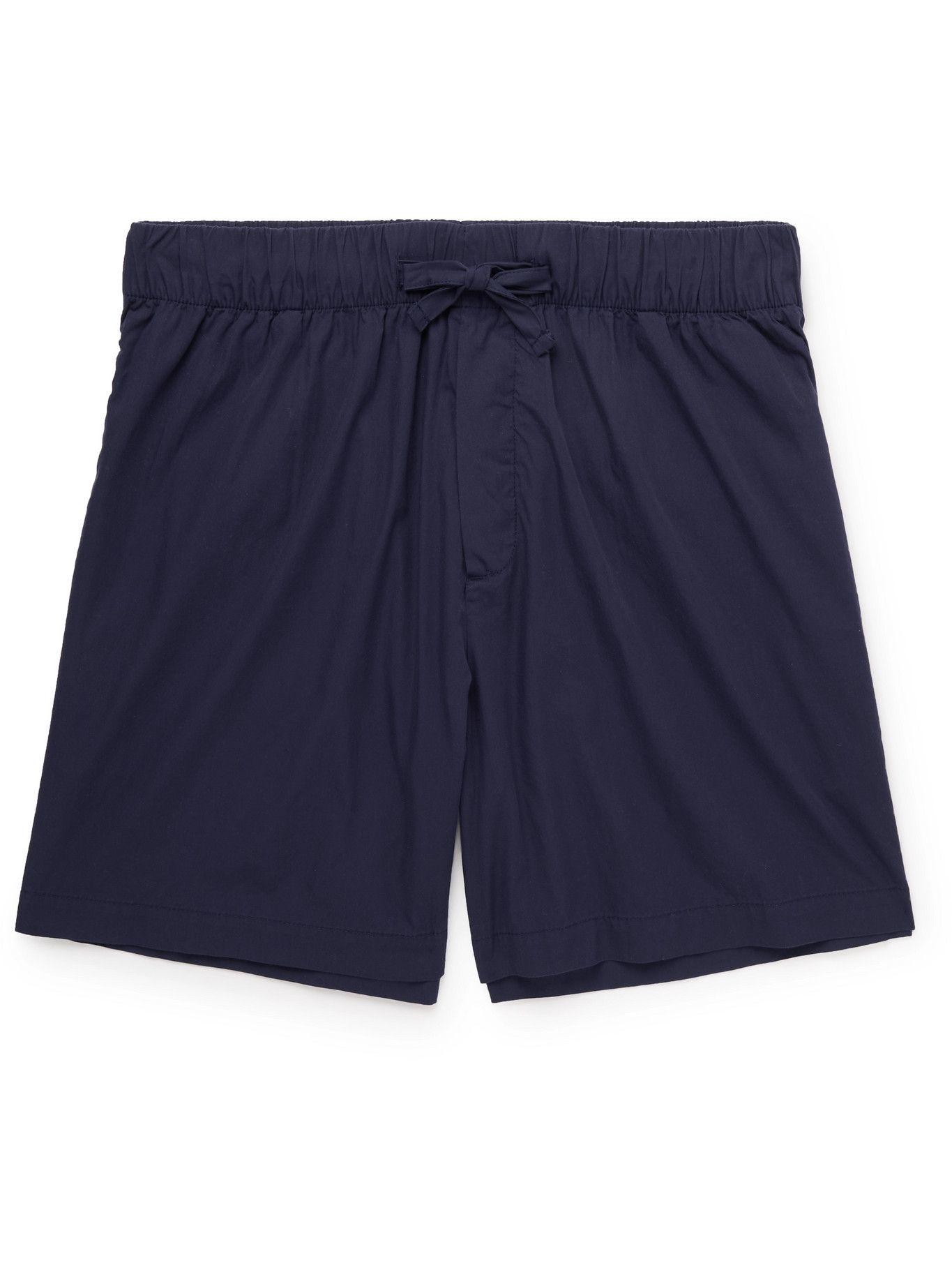 Photo: TEKLA - Organic Cotton-Poplin Pyjama Shorts - Blue