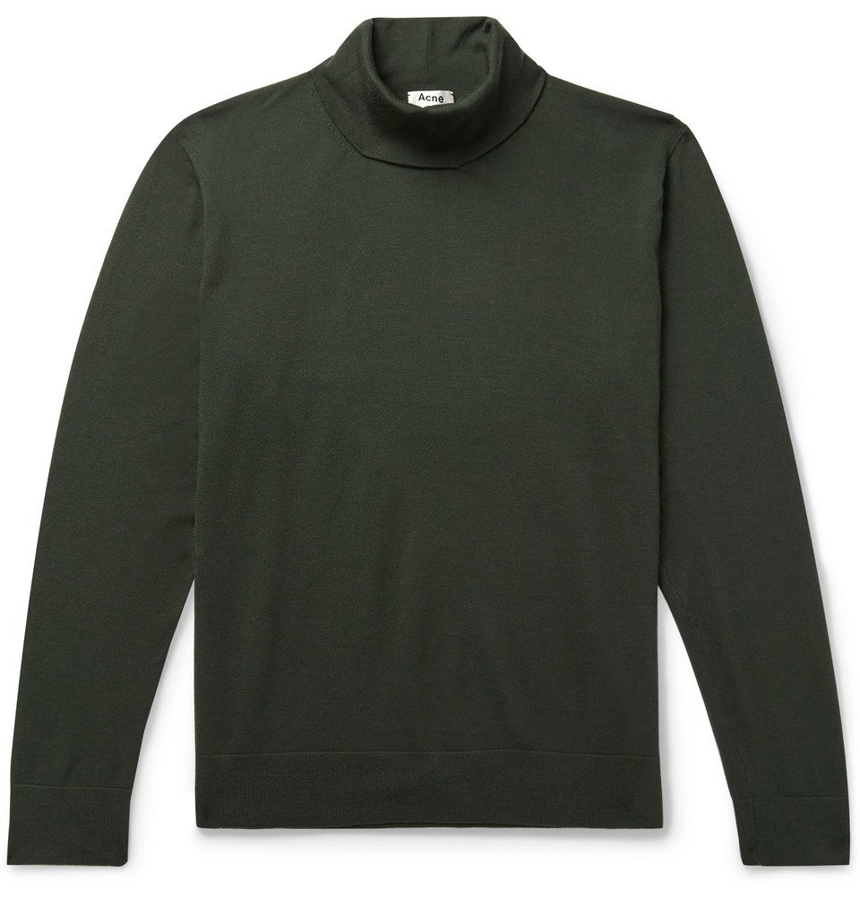 Photo: Acne Studios - Stretch Wool-Blend Rollneck Sweater - Dark green