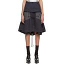 Sacai Navy and Grey Glencheck Stripe Skirt