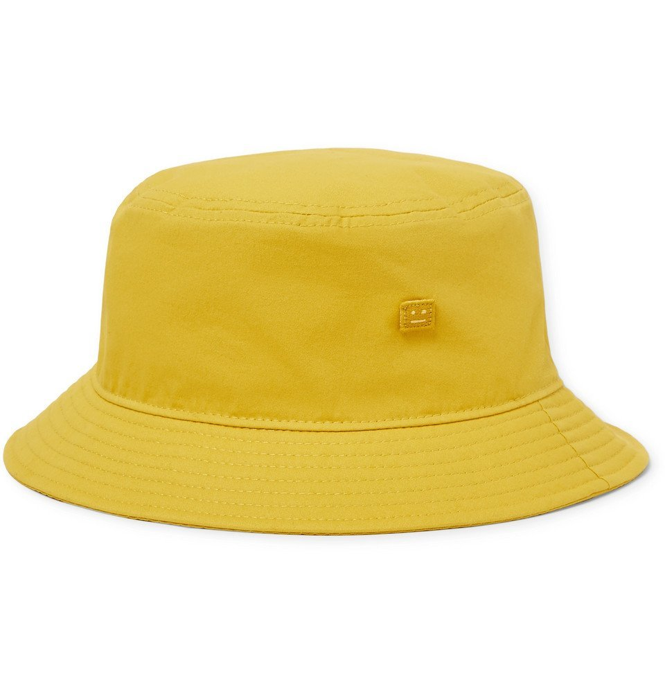 Acne Studios - Logo-Appliquéd Cotton-Twill Bucket Hat - Mustard