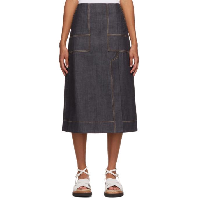 Photo: 3.1 Phillip Lim Navy Organic Denim Skirt