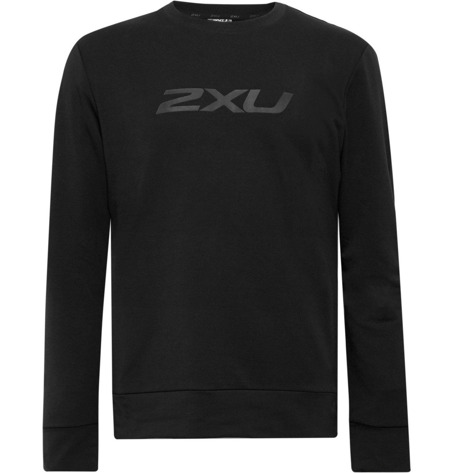 Photo: 2XU - Transit Logo-Print Loopback Stretch-DRI-RELEASE Top - Black