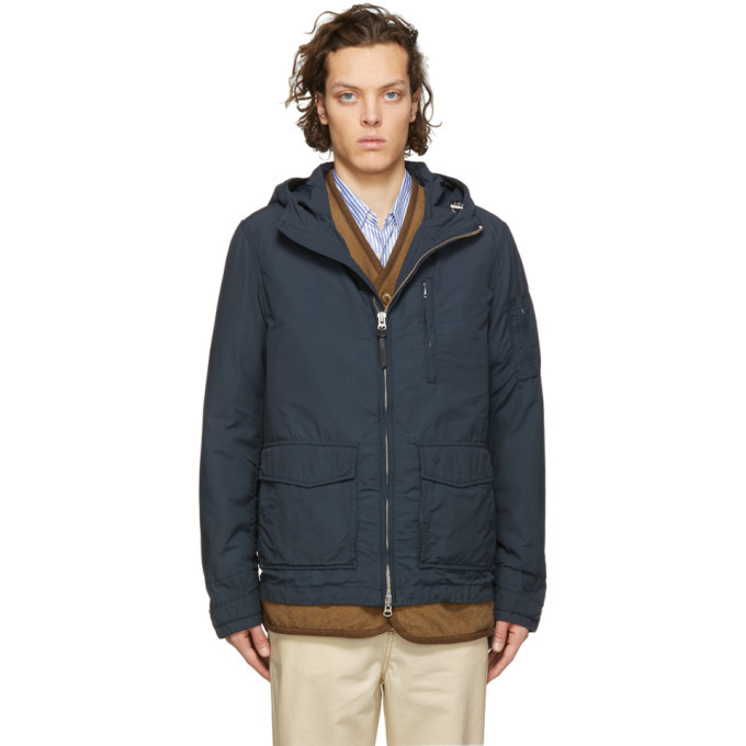Photo: Woolrich John Rich and Bros Blue Utility Rudder Jacket