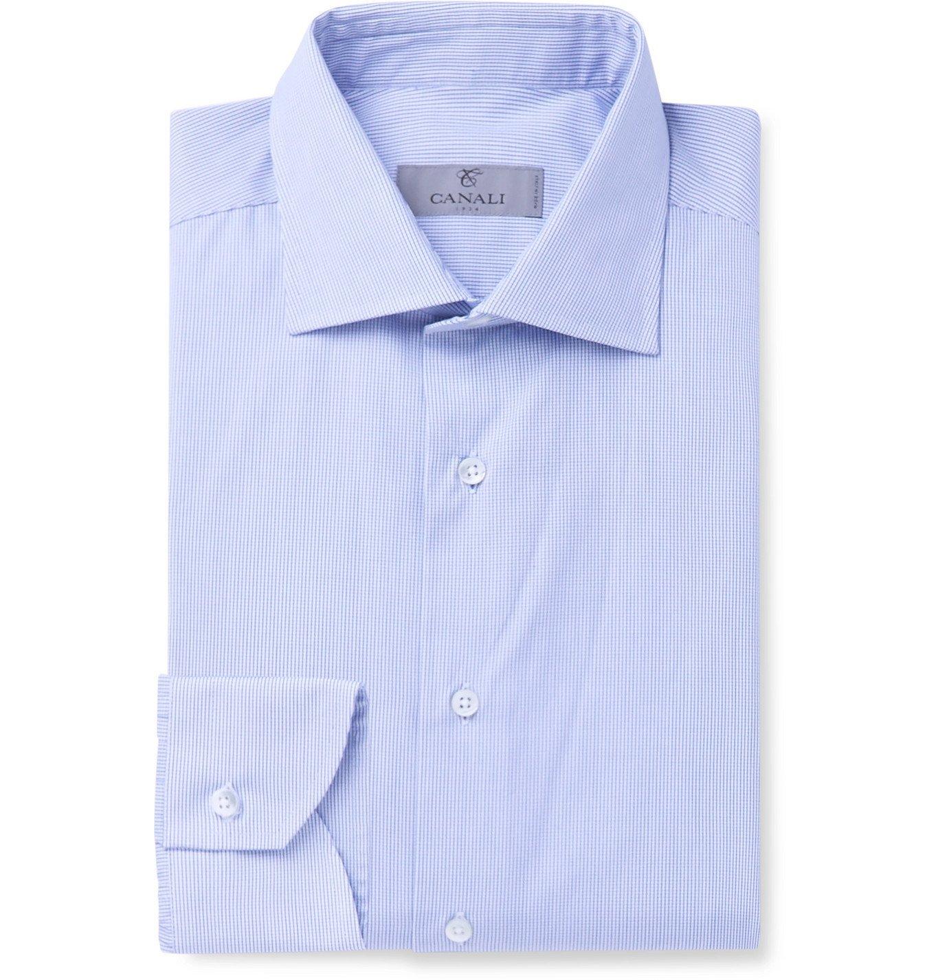 Photo: Canali - Cutaway-Collar Checked Cotton-Poplin Shirt - Blue