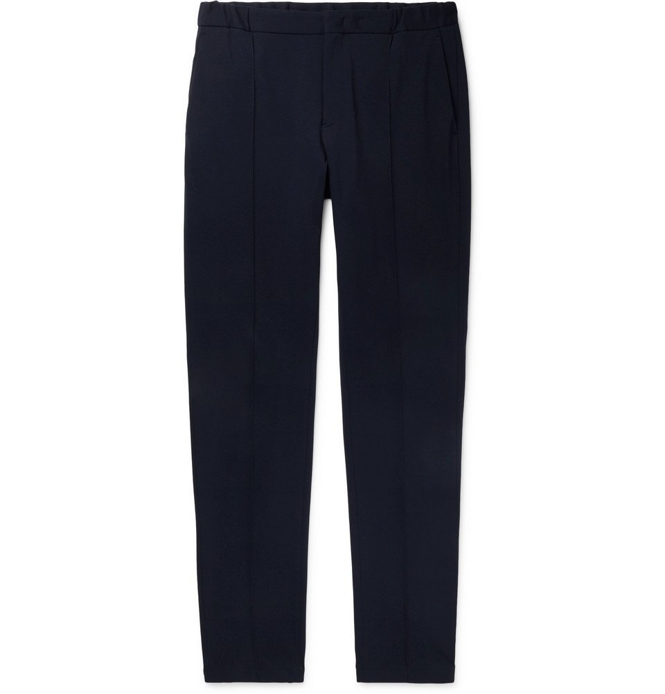 Giorgio Armani - Navy Tapered Stretch-Knit Trousers - Men - Navy