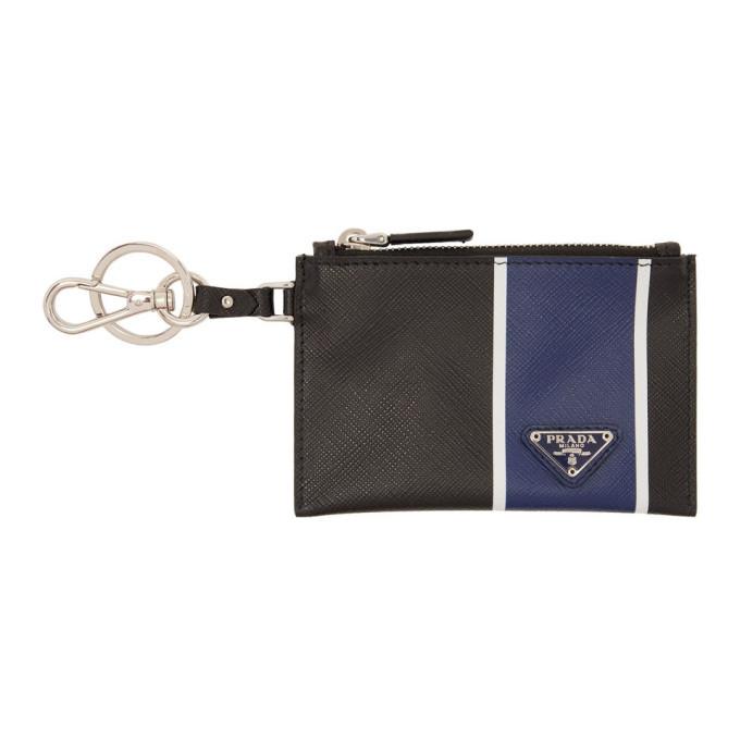 Photo: Prada Black and Blue Saffiano Zip Pouch Keychain