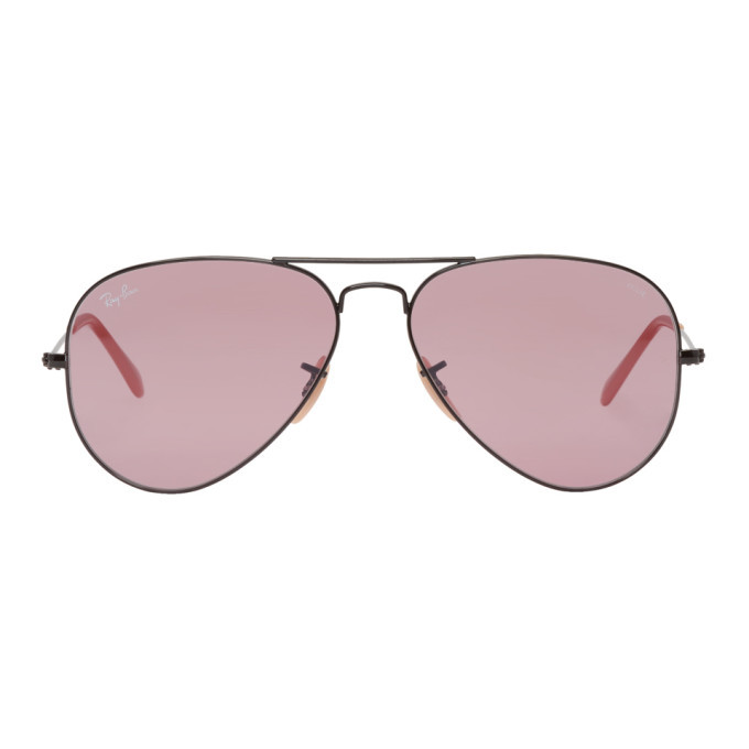 Photo: Ray-Ban Black and Pink Pilot Aviator Sunglasses