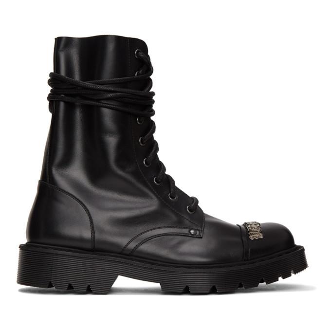 Photo: VETEMENTS Black Gothic Logo Combat Boots