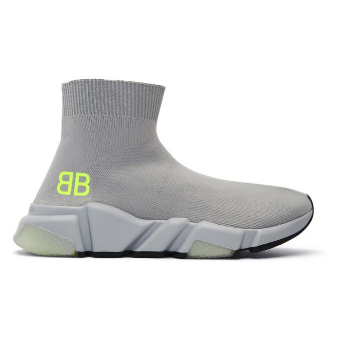Photo: Balenciaga Grey BB Speed High-Top Sneakers