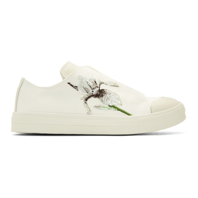 Photo: Alexander McQueen Ivory Embroidered Iris Sneakers