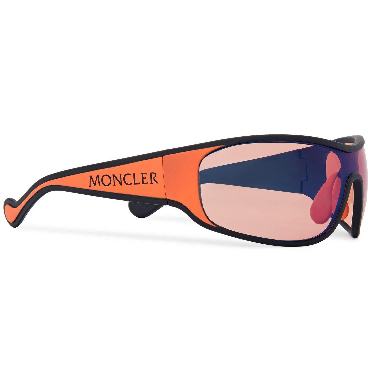 Moncler - Wrap-Frame Polarised Acetate Sunglasses - Red