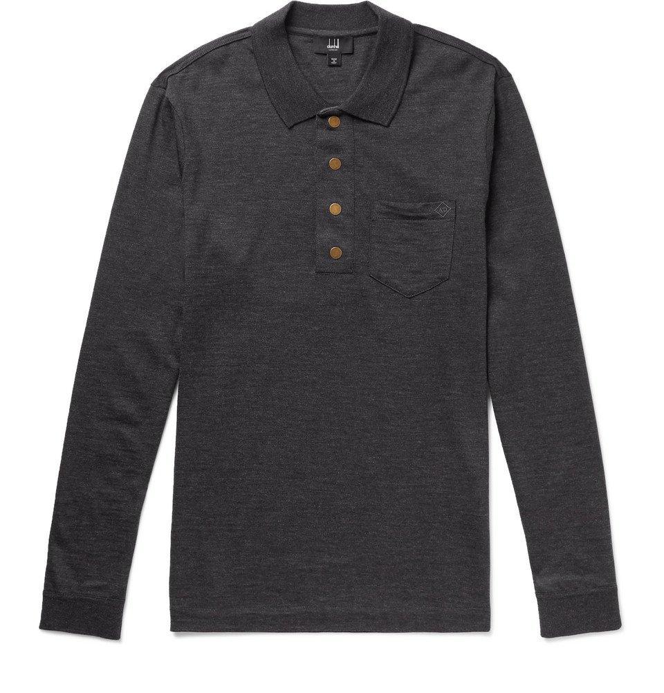 Dunhill - Wool Polo Shirt - Men - Charcoal