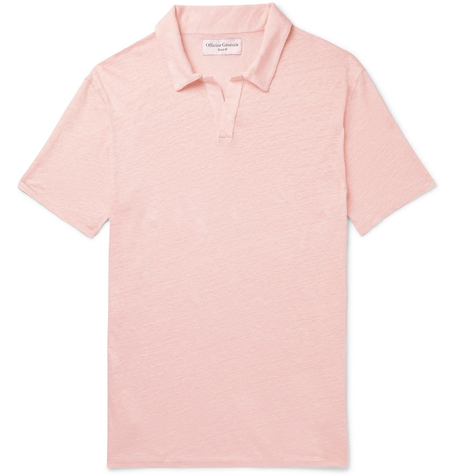 Photo: Officine Generale - Simon Slim-Fit Garment-Dyed Linen Polo Shirt - Pink