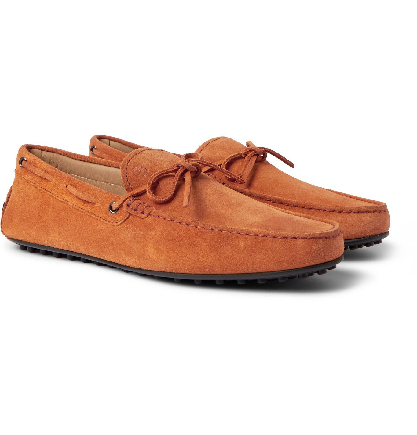 Photo: TOD'S - City Gommino Suede Driving Shoes - Orange