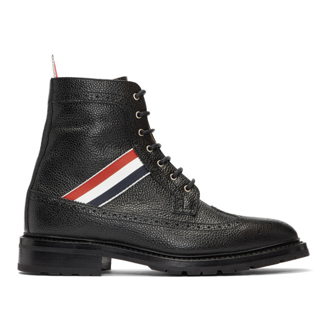 Photo: Thom Browne Black Longwing Brogues Boots
