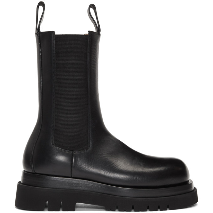 Photo: Bottega Veneta Black Mid-Calf Chelsea Boots