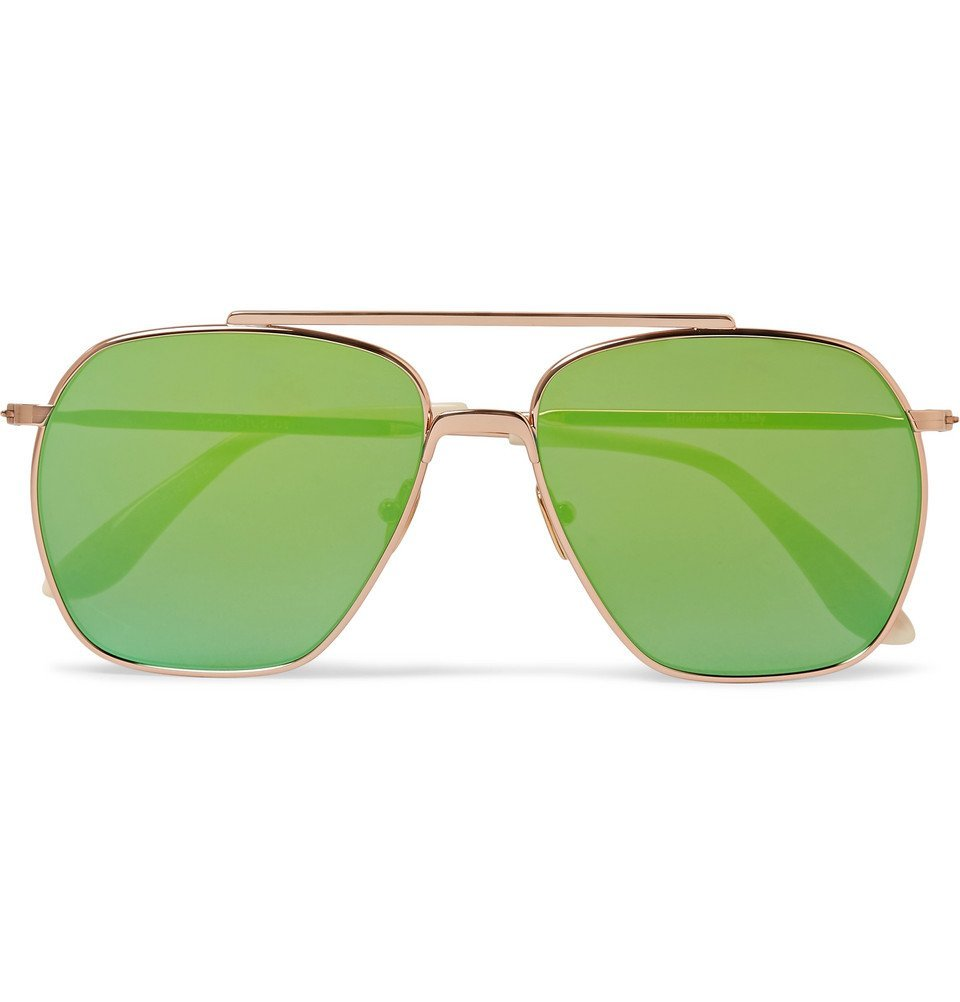 Photo: Acne Studios - Anteom Aviator-Style Rose Gold-Tone and Acetate Sunglasses - Gold