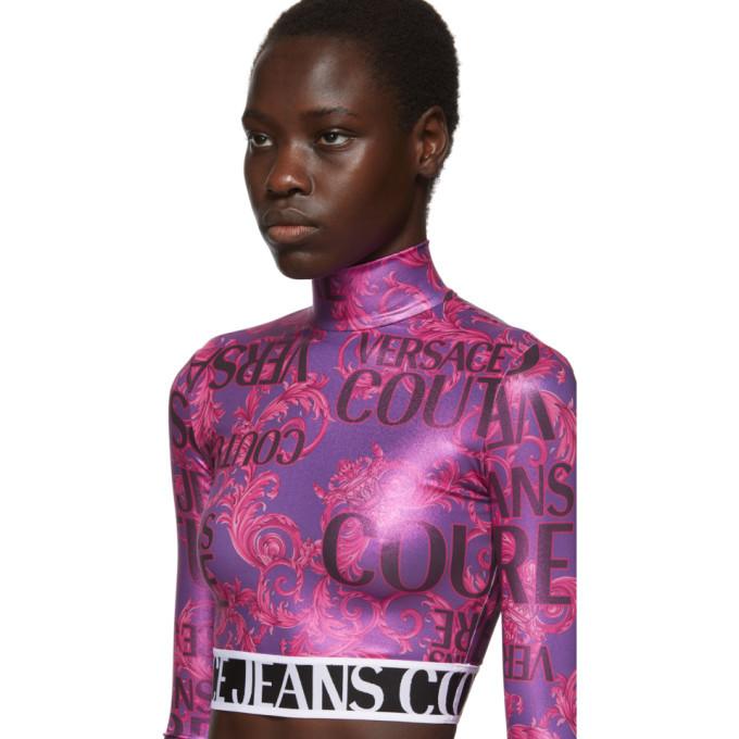 Versace Jeans Couture Pink Metallic Barocco Crop Turtleneck