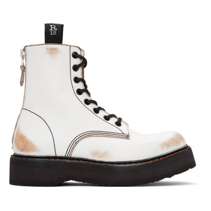 Photo: R13 White Distressed Stack Boots
