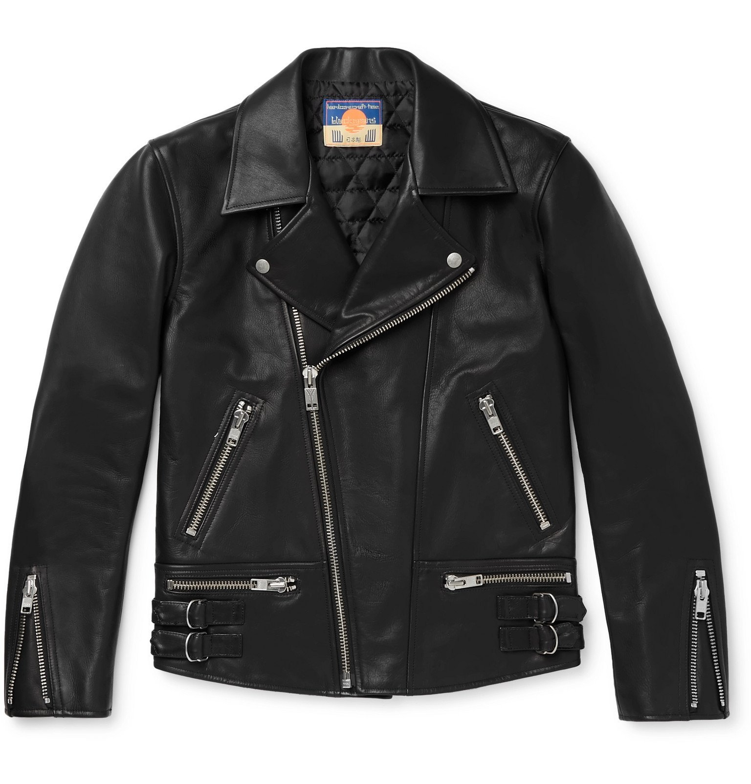 Photo: Blackmeans - Slim-Fit Leather Biker Jacket - Black