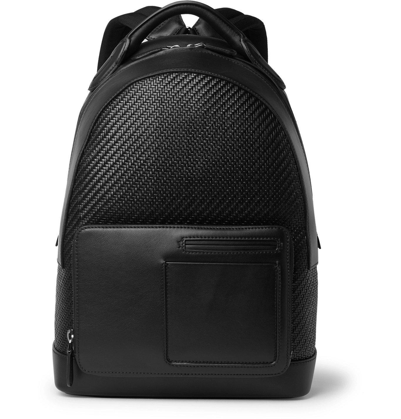 Photo: Ermenegildo Zegna - Pelle Tessuta and Leather Backpack - Black